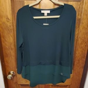 Michael Kors XLarge Emerald Green Top nwt